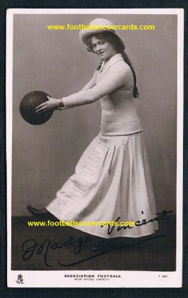 1904 women's football postcard by Raphael Tuck Celebrities Madge Vincent